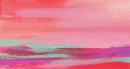 Abstract landscape. Versatile artistic background for creative design projects: posters, banners, invitations, cards, websites, magazines, wallpapers. Raster image. Blue, purple and red colours.