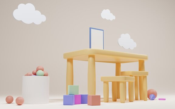 Kids table with poster mock up and chairs for education and fun games. Kindergarten or preschool playroom interior. Cartoon 3d illustration child room with clouds, toy cubes and dry pool balls