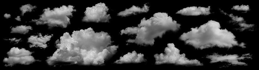 Fototapeta Clouds set isolated on black background. White cloudiness, mist or smog background. Collection of different clouds. obraz
