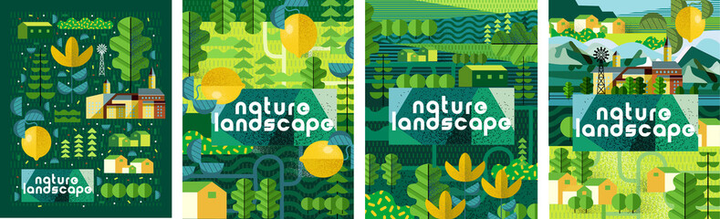 Obraz Nature and landscape. Vector art abstract illustration of village, trees, bushes, lemon, flowers, houses for poster, background or cover. Agriculture and garden - fototapety do salonu