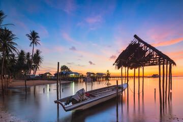 Fishing boat in the fishing village of Sembulang beach, Batam island