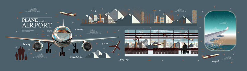 Fototapeta Airplane and airport. Vector illustration of a porthole with an airplane wing, flight and terminal interior with traveling people obraz
