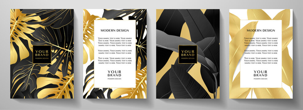 Luxury tropical cover, frame design set with gold palm branch (Banana leaf, golden Monstera plant) on black. Exotic background vector pattern for cafe menu template, summer holiday poster, wedding