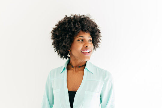 Cheerful woman with afro hair