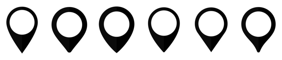 Obraz Location map pin icon set, Map pin markers, Location icon symbol, Global Positioning system sign, vector illustration - fototapety do salonu
