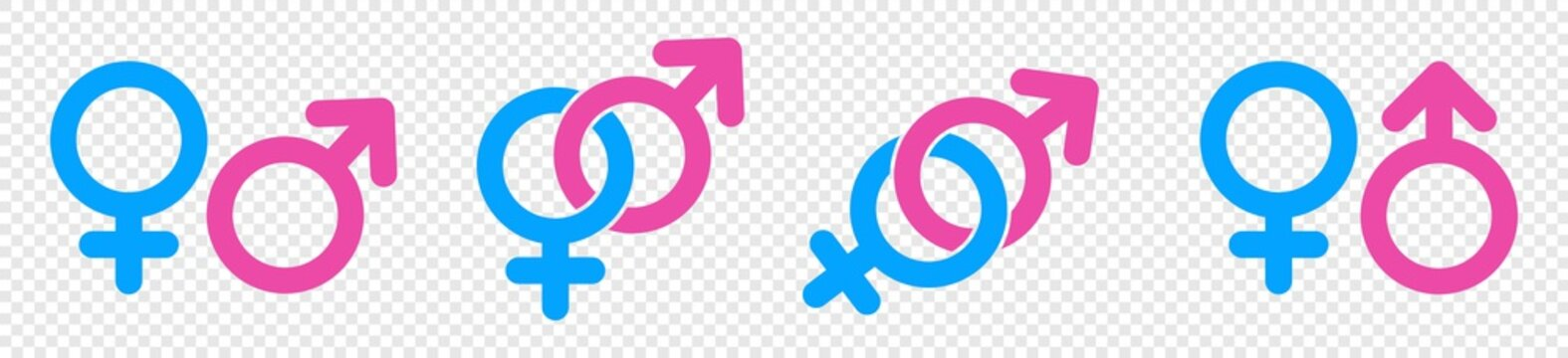 Gender icon set, Male and female sign, men and women symbol, vector illustration