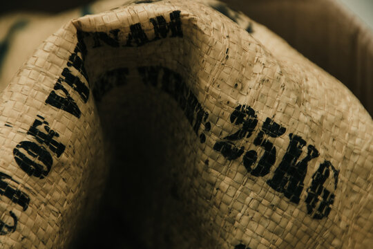 Export printed on a yellow rice sack