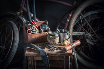 Vintage bike fix service with tools and parts. Vulcanization workshop