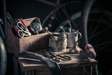 Vintage bike fix service with spare parts. Repair shop