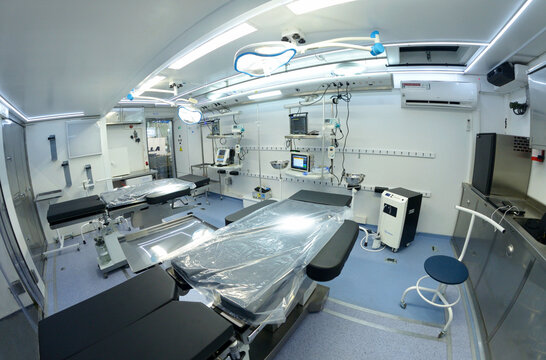 Interior of a new military mobile hospital operation tables, reviving apparatuses, other medical equipment, made in Ukraine
