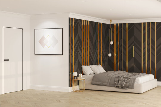 A modern black and white bedroom with an illuminated horizontal poster on the wall by the door, a bedside table by the bed, and black decorative wall panels with gold accents. 3d render