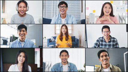 Group of young Asian business people, office coworker on video online conference call, remote team...