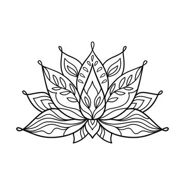 Hand drawn lotus flower tattoo design. Graphic mandala pattern.