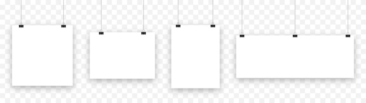 Blank hanging paper sheet with blinder clip, vector set. Empty white photo frame mockup: poster,  banner, square. Realistic picture hanging. Concept art gallery canvas portfolio. Isolated illustration