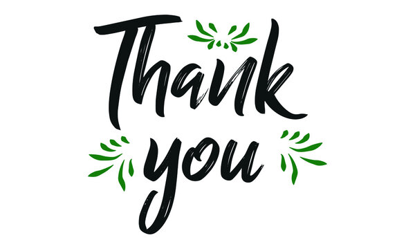 Thank you - handwritten. Can be used as a quote, phrase for postcards, banners, posters, clothing design.