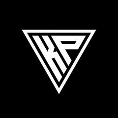 Obraz KP Logo monogram with triangle shape designs template - fototapety do salonu