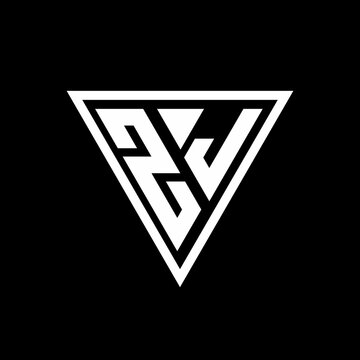 ZJ Logo monogram with triangle shape designs template