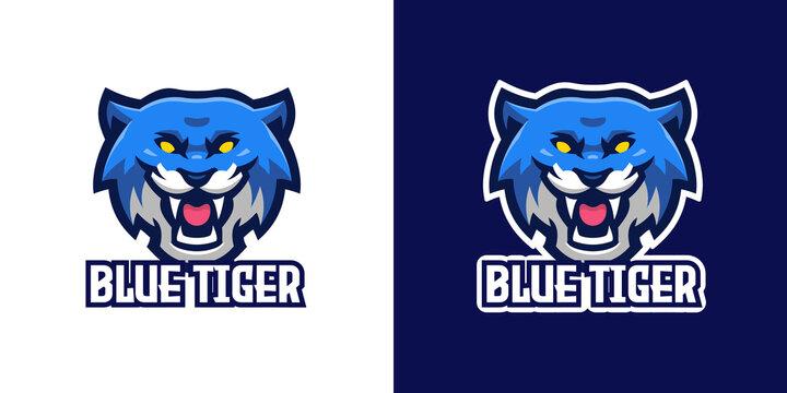 Wild Blue Tiger Mascot Character Logo Template