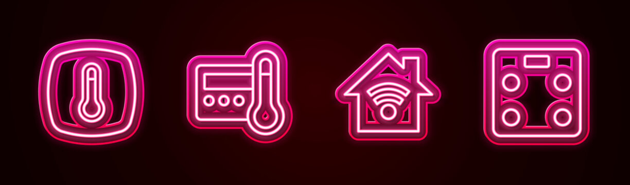 Set line Thermostat, , Smart home with wi-fi and bathroom scales. Glowing neon icon. Vector