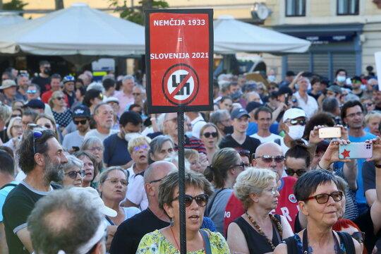 Anti-government protest in Ljubljana