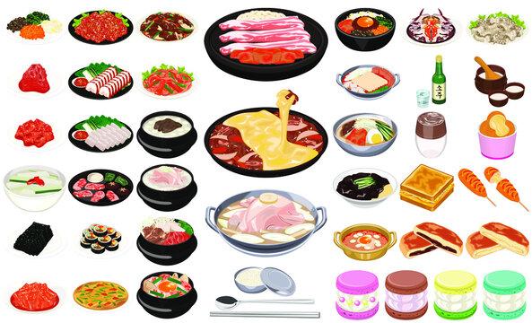 韓国の人気料理・グルメアイコン①(焼肉、チーズダッカルビ、ヤンニョムチキン、トゥンカロン)