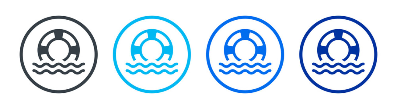 lifesaver floating on the ocean icon vector isolated on white background.