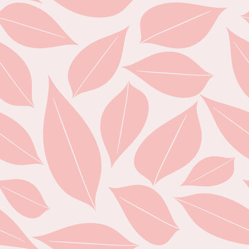 Seamless baby pattern with pink entire hand drawn leaves on a light pink background. The pattern can be used for wrapping papers, invitation cards, wallpapers, covers, textile prints. Vector, eps 10.