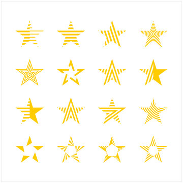Set of new style yellow vector stars isolated on white. star icon with abstract line shape. Star vector icon. Star vector illustration collection illustration