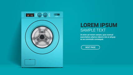 Obraz realistic washing machine front view of blue washer domestic appliance concept horizontal - fototapety do salonu