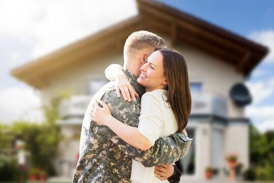 Happy Wife Hugging Her Husband