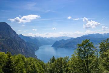Fototapeta Lake Traunsee seen from Gmundnerberg, Salzkammergut, Upper Austria, Austria obraz