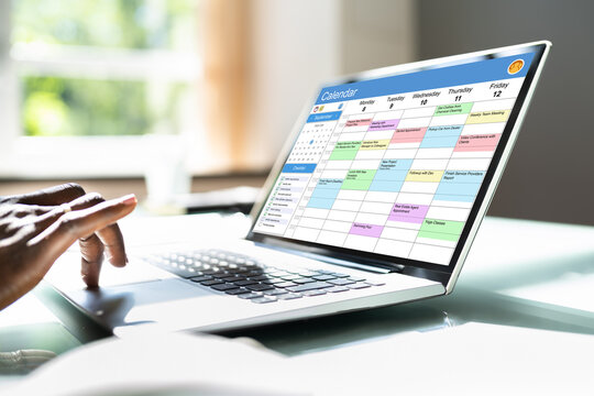 Executive Using Digital Calendar Agenda