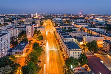 Obraz Miasto Łódź- widok na nocne miasto. - fototapety do salonu