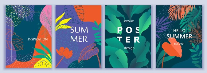 Exotic summer colorful backgrounds with tropic leaves, plants. Cover, poster, wallpaper, card design.