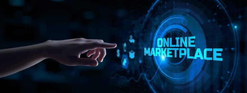 Online marketplace e-commerce internet shopping business concept.
