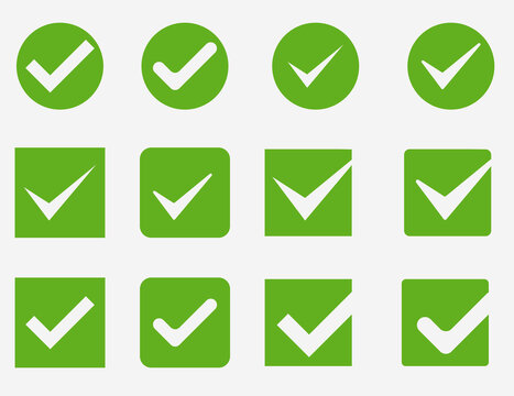 Vector green confirm icons set. Large set of flat buttons: green check marks. Circle and square, hard and rounded corners. Vector illustration