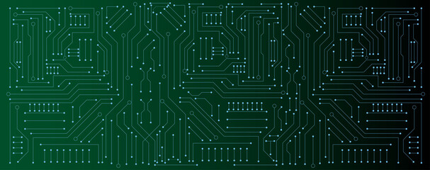 Obraz circuit board electronic or electrical line on green engineering technology concept vector panorama background - fototapety do salonu