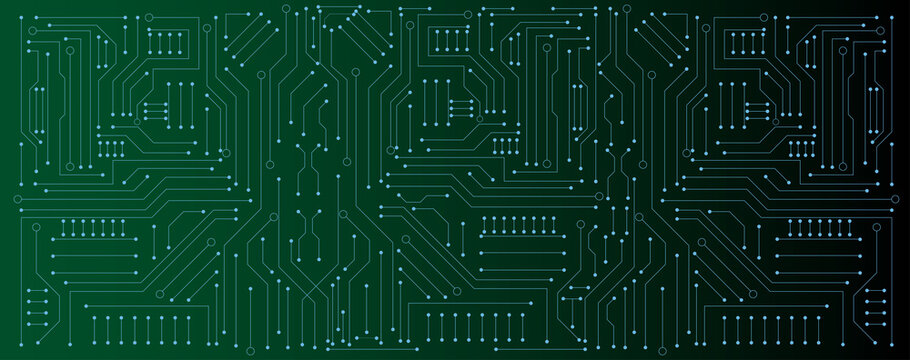 circuit board electronic or electrical line on green engineering technology concept vector panorama background