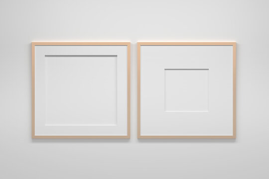 Mockup template with two large square frames