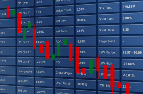 Chart stock market decline, analysis, forex graph finance money losing