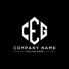 Obraz CEG letter logo design with polygon shape. CEG polygon logo monogram. CEG cube logo design. CEG hexagon vector logo template white and black colors. CEG monogram, CEG business and real estate logo.  - fototapety do salonu