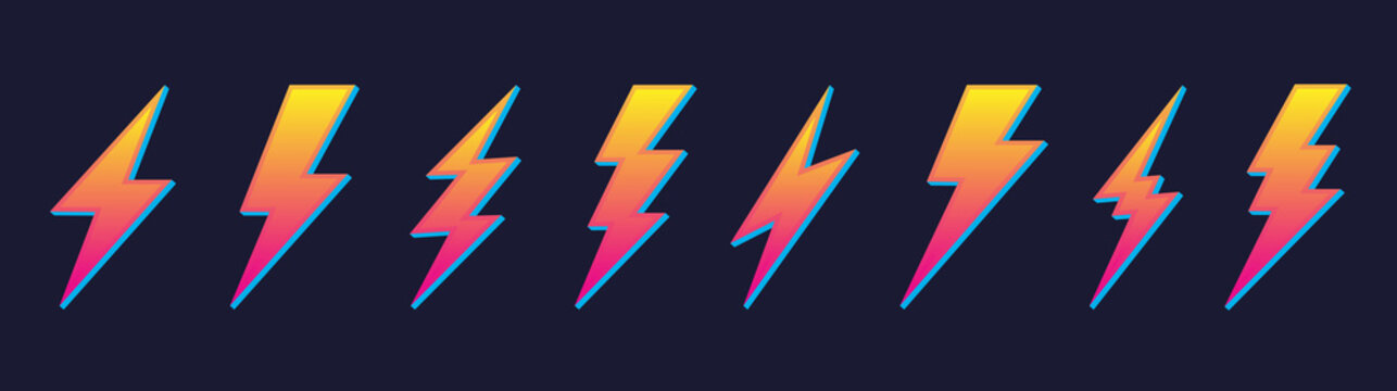Creative yellow electric thunder bolt lightning flash icons set vector. Isolated colored design symbols on dark background. Vector thunderbolt signs. Abstract concept danger and voltage illustration.