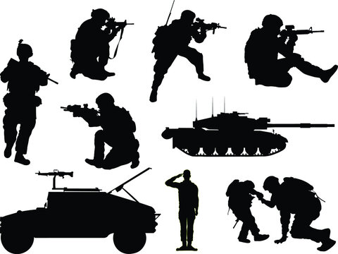 US military soldier silhouettes with tank and a Humvee