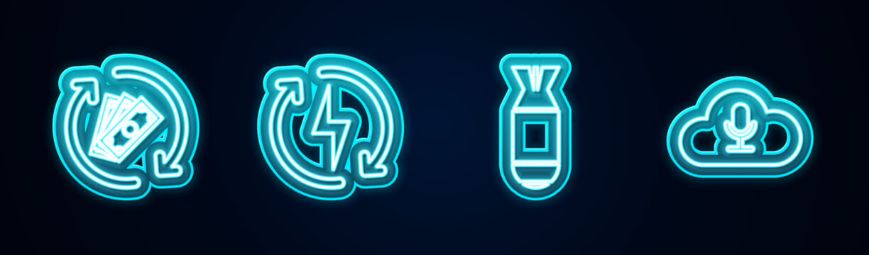 Set line Refund money, Recharging, Aviation bomb and Music streaming service. Glowing neon icon. Vector