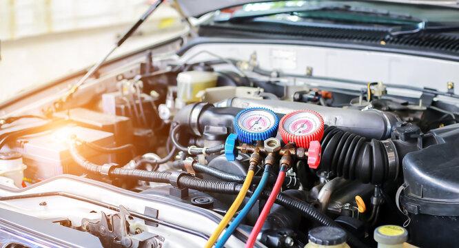 Car Air Conditioner Check Service, Leak Detection, Fill Refrigerant.
