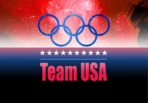 Graphic Olympic Rings Team USA background