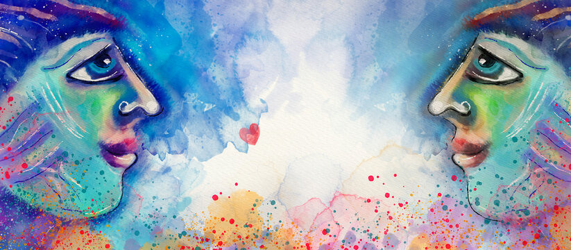 Concept of human relationships. Watercolor design background