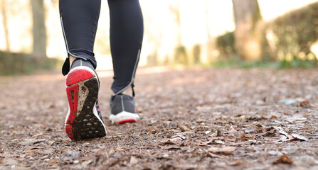 Woman Walking At Park. Outdoor Jogging Exercise.
