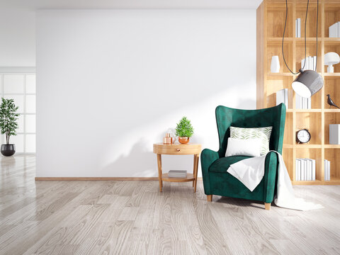 Modern Mid Century And Minimalist Interior Of Living Room, Green Armchair With Wood Table