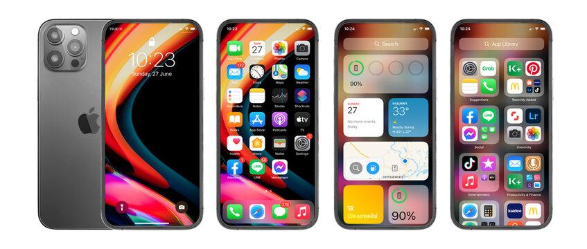 IPhone 13 Pro Max, Apple with Retina display ios 11.4. processor designed by Apple Inc.June 27, 2021, Thailand, Bangkok